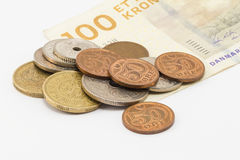 Cédula e moedas dinamarquesas Imagens de Stock Royalty Free