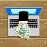 Cédula em linha do dinheiro do salário ou da compensação Imagem de Stock Royalty Free