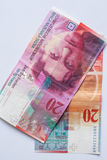 Cédula - 20 francos suíços Fotografia de Stock