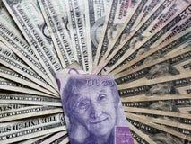 cédula sueco de vinte kronor e fundos com contas de dólares americanas fotografia de stock