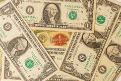 Cédula velha da antiga União Soviética com notas de dólar do americano um 1 rublo URSS e muitas notas de dólar uma americanas Imagem de Stock