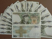 Cédula velha da circulação do Polônia PLN 50 imagem de stock royalty free