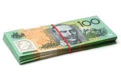 Cédulas australianas da moeda $100 Foto de Stock Royalty Free