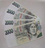 2000 cédulas checas da coroa Foto de Stock
