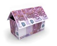 Cédulas 3D da casa dos Euros Fotografia de Stock Royalty Free