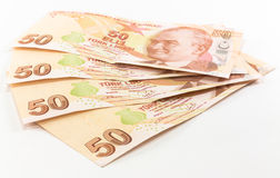 Cédulas da lira turca Fotos de Stock