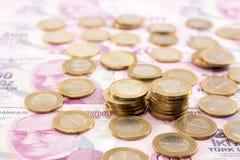 Cédulas da lira turca e dinheiro do ferro Imagens de Stock Royalty Free