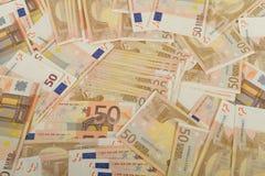 Cédulas da UE em 50 euro- contas Fotos de Stock