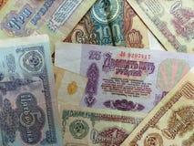 Cédulas da URSS coleção Fundo com sinais do dinheiro closeup Imagem de Stock