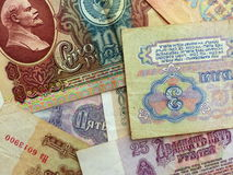 Cédulas da URSS coleção Fundo com sinais do dinheiro closeup Fotografia de Stock Royalty Free