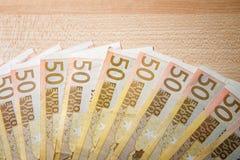 Cédulas de 50 euro Foto de Stock Royalty Free