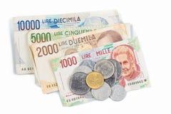 Cédulas de Itália Moedas da lira italiana e do metal Foto de Stock