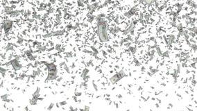 Cédulas de queda isoladas no fundo branco Imagens de Stock Royalty Free
