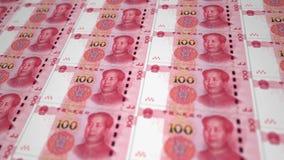 Cédulas de Yuan do dinheiro de China que movem a terra vídeos de arquivo