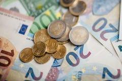 Cédulas diferentes do Euro de 5 ao Euro 500 Fotografia de Stock Royalty Free