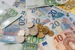 Cédulas diferentes do Euro de 5 ao Euro 500 Imagens de Stock Royalty Free
