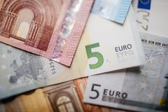 Cédulas diferentes do Euro de 5 ao Euro 500 Fotos de Stock Royalty Free