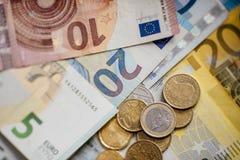 Cédulas diferentes do Euro de 5 ao Euro 500 Imagem de Stock Royalty Free