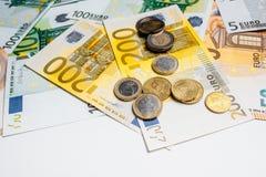 Cédulas diferentes do Euro de 5 ao Euro 500 Fotografia de Stock