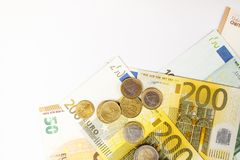 Cédulas diferentes do Euro de 5 ao Euro 500 Imagens de Stock