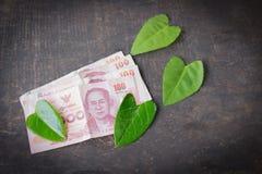 100 cédulas do baht na tabela e na folha esverdeiam verde do coração Fotografia de Stock Royalty Free