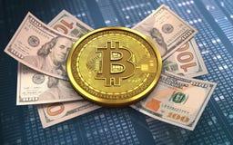 cédulas do bitcoin 3d Imagem de Stock