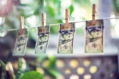 Cédulas do dólar americano que penduram na corda para o conceito da lavagem de dinheiro Imagens de Stock