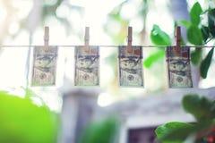 Cédulas do dólar americano que penduram no conceito da lavagem de dinheiro da corda Fotos de Stock