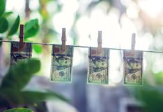 Cédulas do dólar americano que penduram no conept da lavagem de dinheiro da corda Fotos de Stock Royalty Free