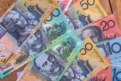 Cédulas do dólar australiano usadas como o fundo foto de stock royalty free