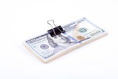 Cédulas do dólar em um fundo branco Imagens de Stock Royalty Free