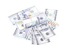 Cédulas do dólar em um fundo branco Fotografia de Stock