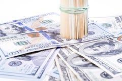 Cédulas do dólar em um fundo branco Imagem de Stock Royalty Free