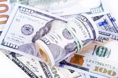 Cédulas do dólar em um fundo branco Foto de Stock Royalty Free