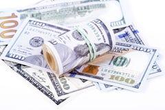 Cédulas do dólar em um fundo branco Imagem de Stock
