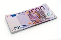 500 cédulas do dinheiro do Euro Foto de Stock