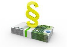 Cédulas do Euro com parágrafo dourado Fotografia de Stock Royalty Free