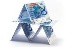 Cédulas do Euro como uma casa de cartões Imagem de Stock
