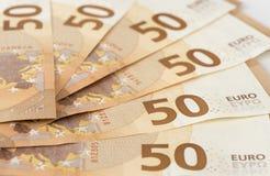 Cédulas do Euro da moeda europeia Imagem de Stock