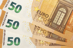 Cédulas do Euro da moeda europeia Imagens de Stock