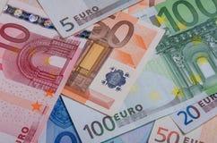 Cédulas do Euro da primeira série de várias denominações imagens de stock royalty free