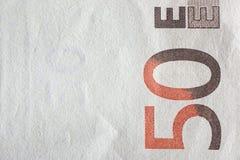 Cédulas do Euro, detalhadas no cinqüênta euro- cédulas novas Foto de Stock