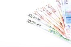 Cédulas do Euro em um fundo branco Fotografia de Stock Royalty Free