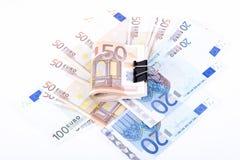Cédulas do Euro em um fundo branco Fotos de Stock Royalty Free