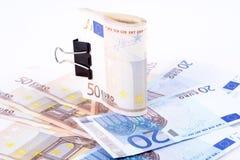 Cédulas do Euro em um fundo branco Imagem de Stock