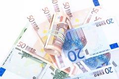 Cédulas do Euro em um fundo branco Imagem de Stock Royalty Free
