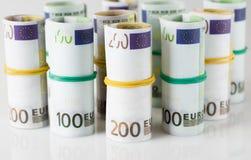 Cédulas do Euro nos tubos Foto de Stock Royalty Free