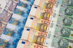 Cédulas do EURO PLN e do CHF de GBP foto de stock royalty free