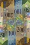 Cédulas do franco suíço de denominações diferentes Fundo abstrato do dinheiro Fotos de Stock Royalty Free