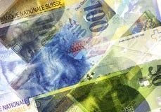Cédulas do franco suíço de denominações diferentes Fundo abstrato do dinheiro Foto de Stock